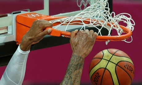United States' Tyson Chandler dunks the ball during the men's basketball game against Nigeria last night.