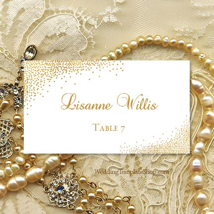 Printable Place Card Template, Gold Confetti Design Series.