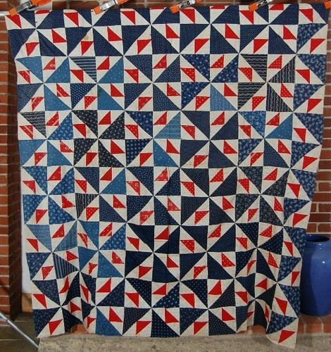 DAZZLING 1890's Vintage Patriotic Red, White & Blue Pinwheels Antique Quilt Top!