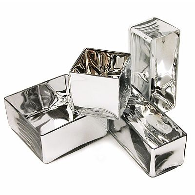 Mirrored Glass Square Vases - Centerpieces that will really stand out. Chic and Modern.