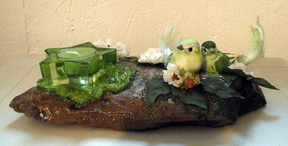 Chandelier RockFée Oiseaux Amoureux vert,  pépites d'Olivine (Péridot) de la boutique LAFABRIQUEFEERIQUE sur Etsy