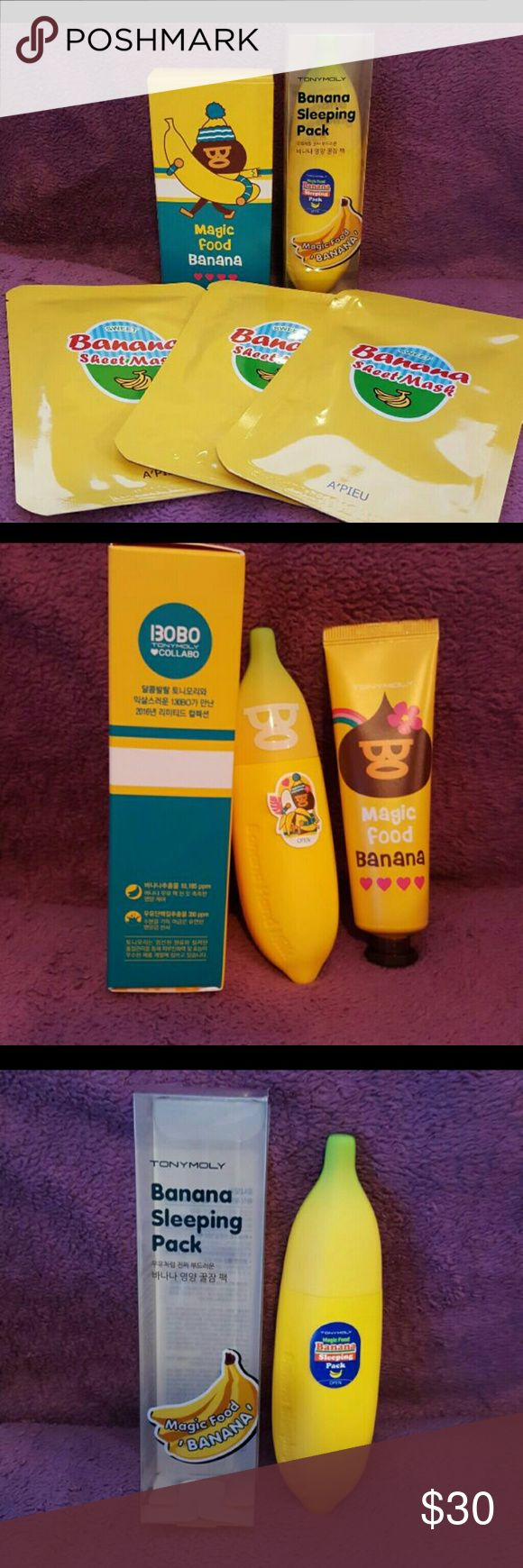 Banana themed Korean skincare lot! ??Banana is known for its moisturizing properties. It's known to make your skin feel nourished and radiant. Listing is for:   ?x1 Tonymoly Banana Sleeping pack 2.87 Oz mfg date 03/16 ?x1 Tonymoly x Bobo collaboration Magic Food   Banana Hand Milk 2016 Special Gift set 1.52 Oz & 1.0 oz mfg date 01/16 *RARE item!* ?x3 A'pieu sweet banana sheet mask. exp 3/19  With Korean skincare products it is common to list manufactured dates. Generally products are good…