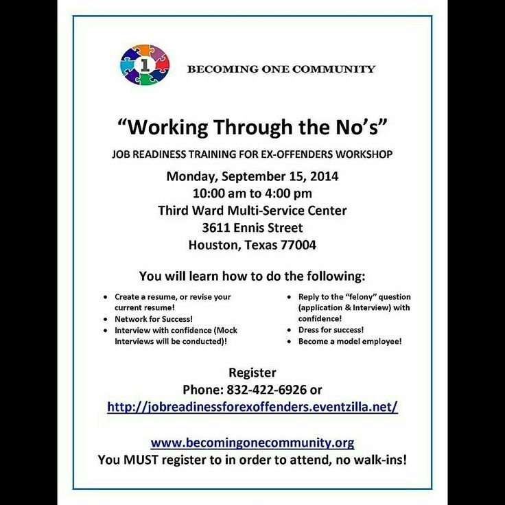 job readiness training for ex offenders