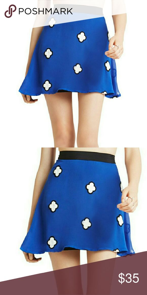 """BCBGENERATION 'floating cloud' skirt blue,blk & wh Blue skirt with little floating clouds on it.... black waistband... the lining is black... hidden side zipper with a hook and eye closure....100% polyester....waistband measures approximately 30"""" around and approx. 17"""" from the top of the waistband to the bottom of the hem.......tu10..... BCBGeneration Skirts Circle & Skater"""