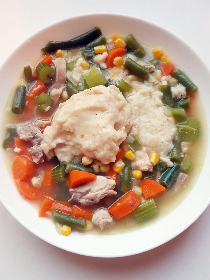 Veggie-licious Chicken Dumpling Soup - recipe at Mouth Half Full