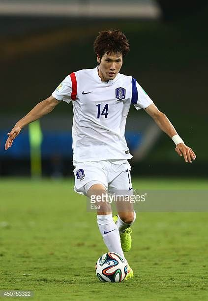Han KookYoung of South Korea controls the ball during the 2014 FIFA World Cup Brazil Group H match between Russia and South Korea at Arena Pantanal...