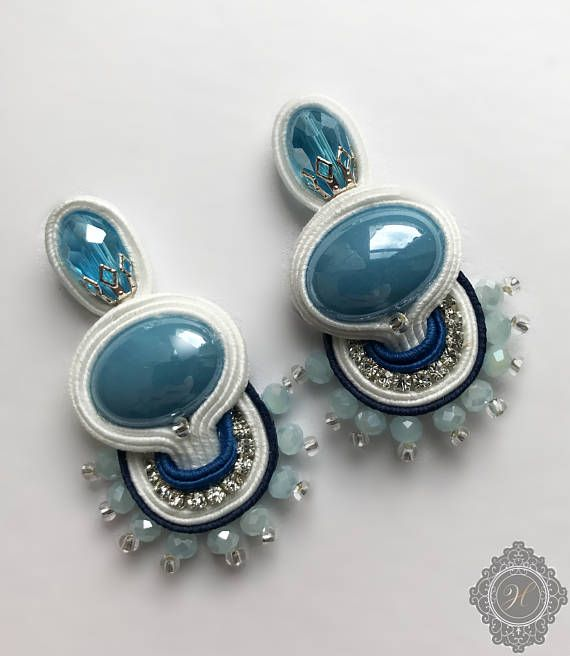 Turquoise soutache blue white beaded earrings whith ceramic