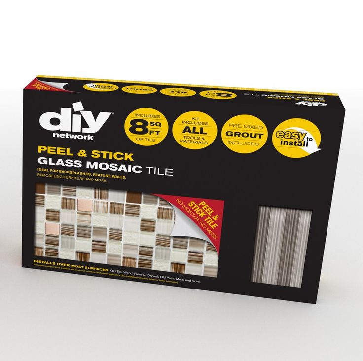 DIY Tile Backsplash Kit Bamboo comes with peel & stick glass mosaic tiles,  2 bags of pre-mixed grout; trim pieces to finish the edges, and tools.