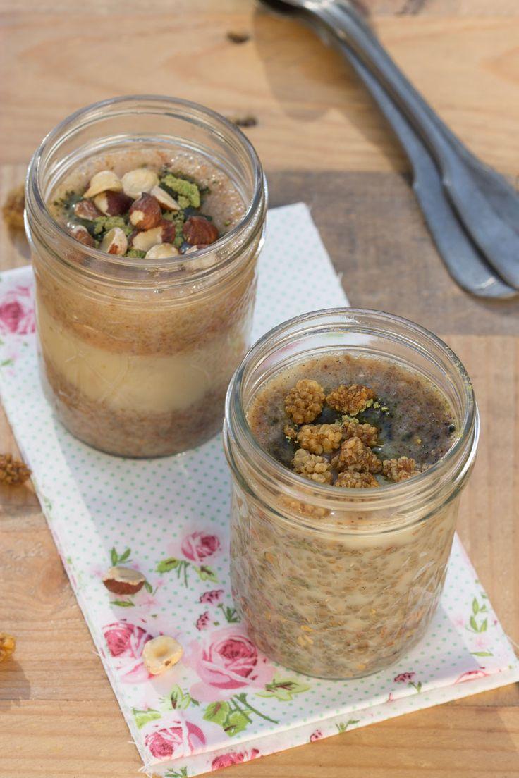 Chia Pudding : 2 cs de graines de chia  150 ml de lait d'amande  1 cs de sirop d'agave  1 cc de psyllium blond (facultatif)  1/4 c. à café de vanille moulue, de cannelle, de quatre-épices… Topping au choix : fruits, fruits secs, graines de sésame ou de lin, « poudres » (cacao, caroube, maca, lucuma, guarana, etc.)