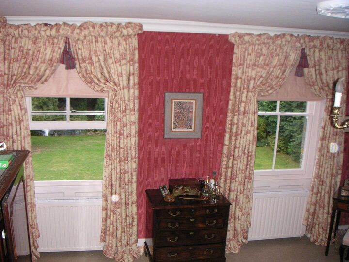 Italian strung puff headed curtains on curved boards.  Made by teresa