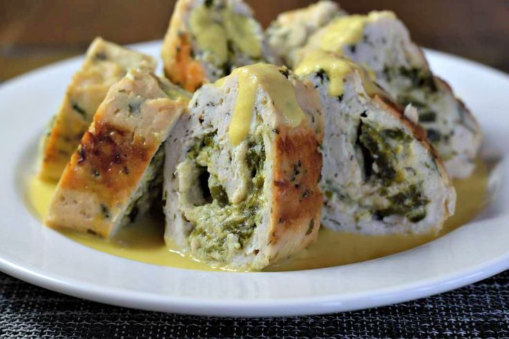 Pollo con Rajas de Chile Poblano y Elote/Chicken with Poblano Strips & Corn | the corn sauce is SO tasty!  I think the chicken roll firmed up and the flavor improved overnight, so I'm keeping this as a make ahead recipe.