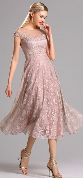 Rosy Brown Lace Dress.