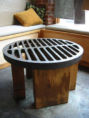 Sewer grate table ~ Gravy Eatery, Portland Oregon.