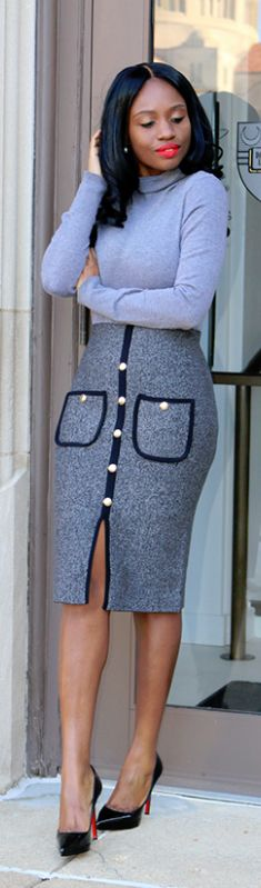 Shades Of Grey - Skirt: c/o Chicwish  / Fashion by Prissy Savvy #fashion