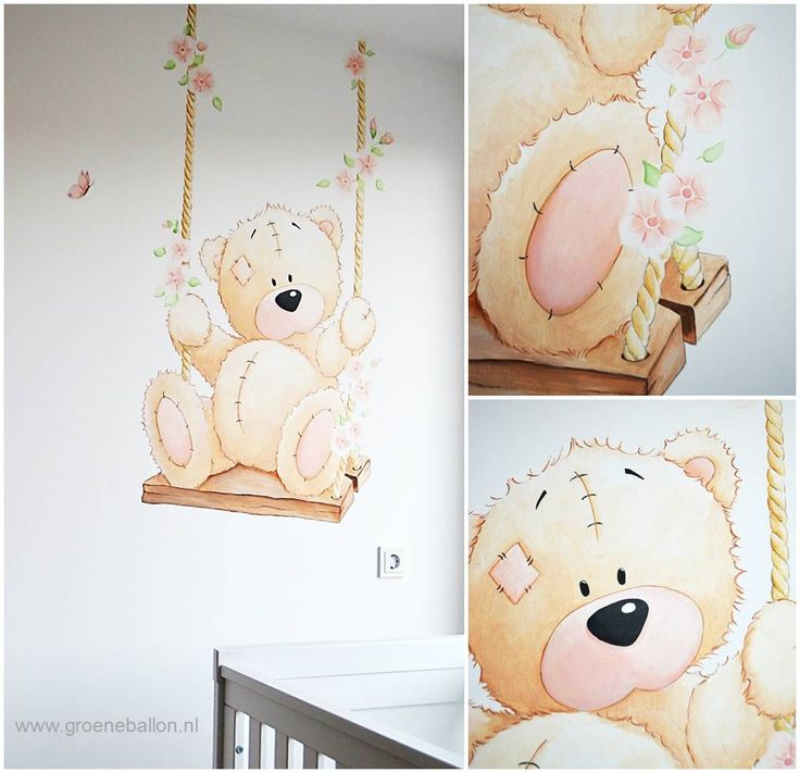 Me to you beertje op schommel met bloesem | muurschildering | babykamer | kinderkamer | www.groeneballon.nl | Den Haag