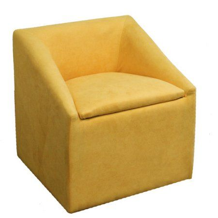 20.75 inch Yellow Accent Chair with Storage