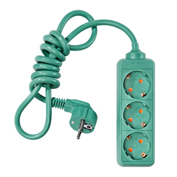 Green 3-way extension cord by Johtoi.