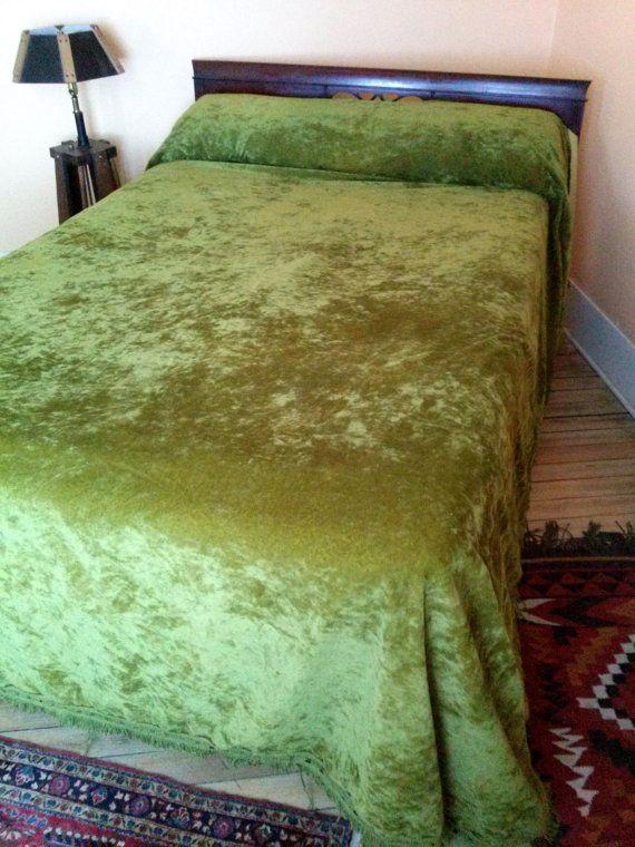 Vintage 1970s Bedspread Crushed Velvet Velveteen By Bycinbyhand