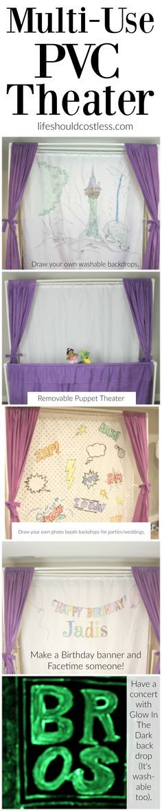 """Multi-Use PVC Theater with washable and glow-in-the-dark backdrop options. The """"thneed"""" of PVC theaters! It is so veratile that you can do almost anything. Best PVC project for kids.THIS WOULD ALSO BE GREAT TO CELEBRATE HOLIDAYS AND BIRTHDAY"""