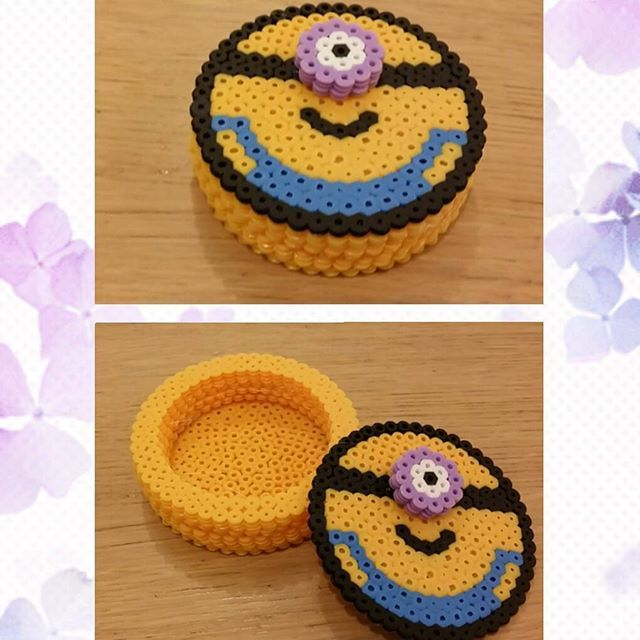Minion box hama beads by Angy Kawaii