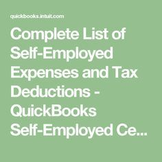 Complete List of Self-Employed Expenses and Tax Deductions - QuickBooks Self-Employed Center