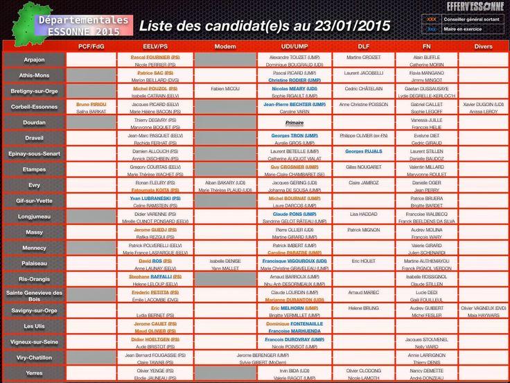 Liste des candidats aux élections départementales 2015 en Essonne.