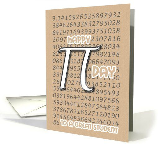 Happy Pi Day Student 3.14 March 14th Silver Pi Symbol card (911593) by PamJArts