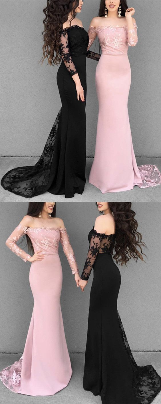 Off the shoulder long sleeves mermaid prom dresses lace appliques in