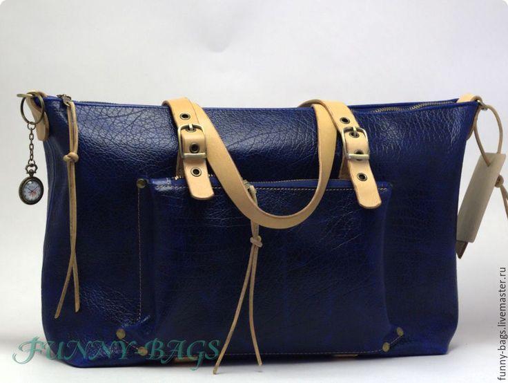 """Купить Кожаная сумочка """" Осеннее небо"""" - тёмно-синий, однотонный, женская сумка"""