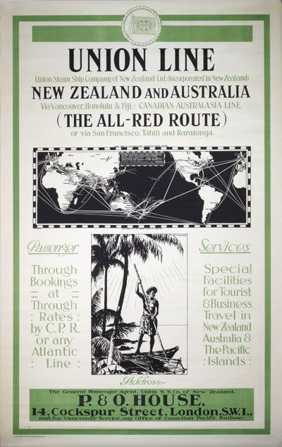 Orignal vintage poster: Union Line - New Zealand and Australia - All-Red Route by Gawthorn, Henry George (1879-1941)