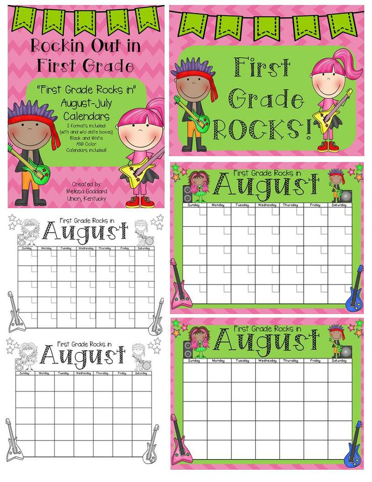 Rockin Out in First Grade January-December Calendars Color and Black and White  Great for classroom management!   http://www.teacherspayteachers.com/Product/First-Grade-Rocks-12-Month-Calendars-Color-and-BW-48-total-1246947