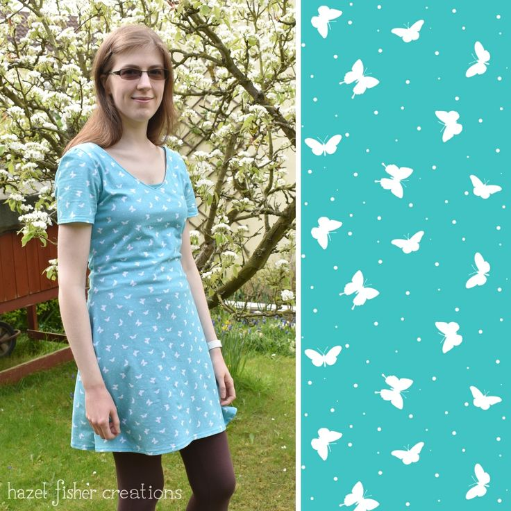 Jersey Dress, dressmaking, Butterfly fabric design by Hazel Fisher Creations  Click through to see more projects made using fabric designed by Hazel Fisher Creations  #Spoonflower