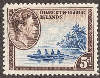 "Gilbert & Ellice Islands  1939 Scott 46 5p dark brown & deep ultramarine  ""Ellice Islands Canoe"""