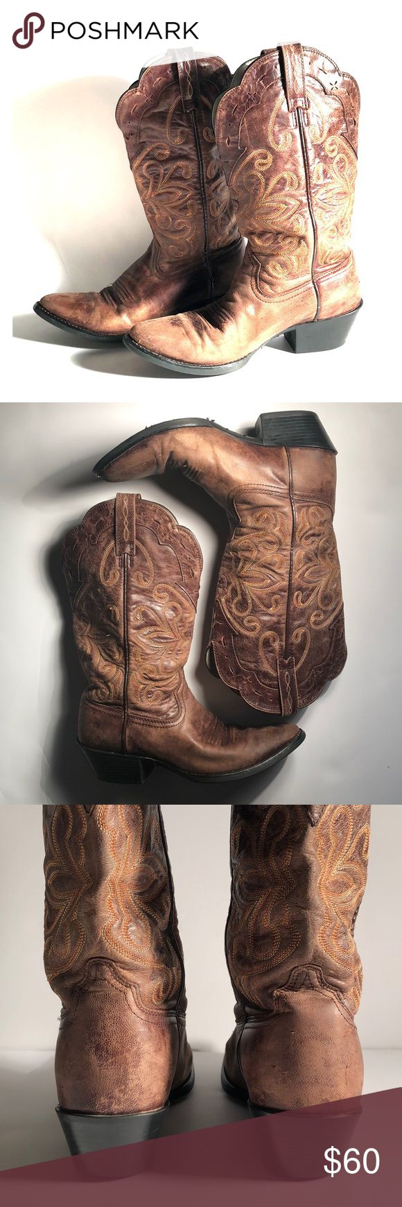 Ariat Brown Leather Western Cowboy Boots Size Women's US 6 B // EUR 36 M // UK 3.5 M - Ariat cowboy boots - Brown - Western style - Pointed round toe - Cream & orange stitching detail - Feminine floral design pattern - Black heeled soles - 100% genuine leather upper - Balance man made materials - A few scuff marks on toes - Soles have minimal signs of wear - Lots of life left - Overall in Great condition - Heel height: 1.5 in // Shaft height: 10.5 in // Total height: 12 in // Outsole (toe to…