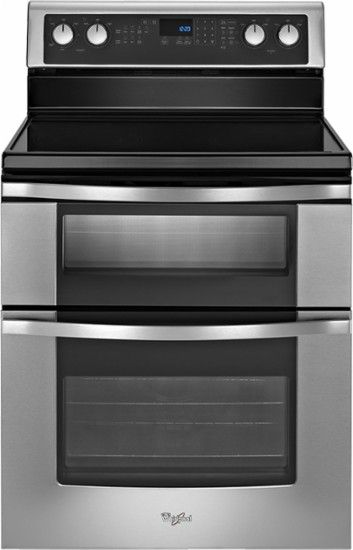 """Whirlpool - 30"""" Self-Cleaning Freestanding Double Oven Electric Range - Stainless-Steel - Front Zoom"""