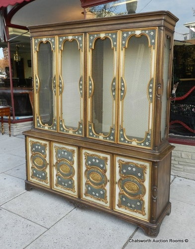 1980s Daniel Jones Furniture New York Paint Decorated Dining Room China  Cabinet | EBay
