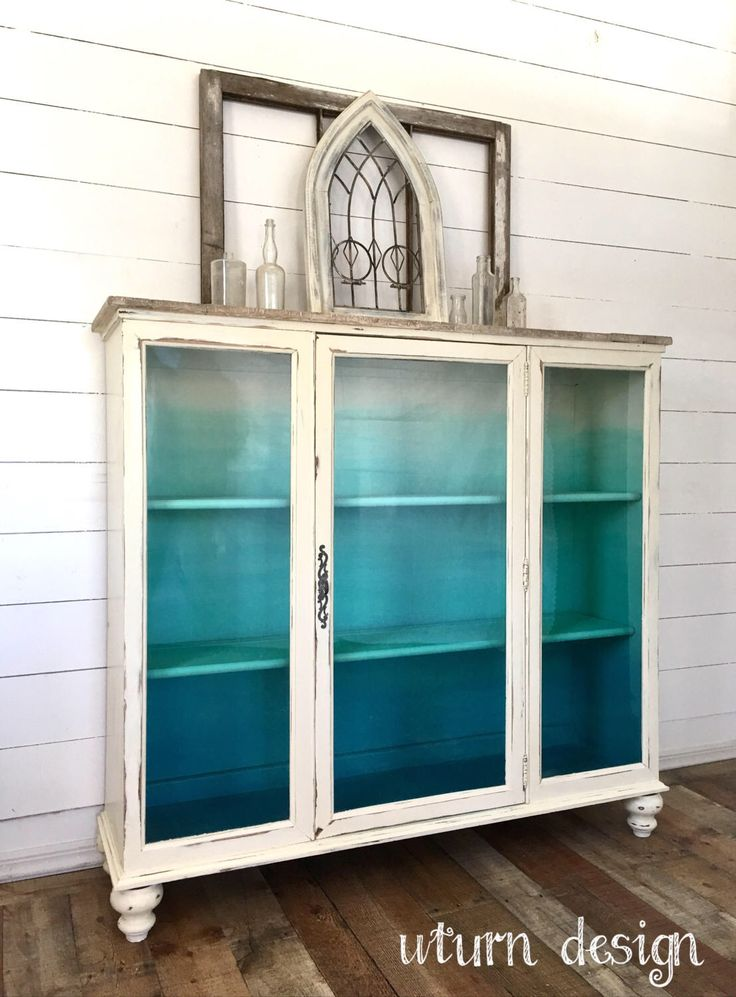 Sold!!!!! Coastal painted hutch/ china cabinet, aqua/ turquoise ombre cabinet by UTurnDesign on Etsy https://www.etsy.com/listing/518778943/sold-coastal-painted-hutch-china-cabinet