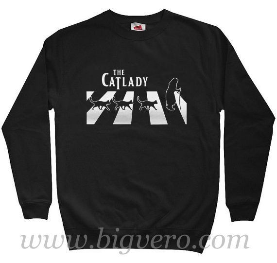 Cat Lady Walk In Abbey Road Sweatshirt Size S-XXL //Price: $29.00    #clothing #shirt #tshirt #tees #tee #graphictee #dtg #bigvero #OnSell #Trends #outfit #OutfitOutTheDay #OutfitDay