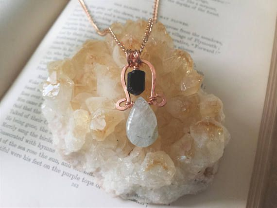 Protection Necklace, Black Tourmaline Necklace, Tourmalated Quartz Necklace, Black Tourmaline Jewelry, Grounding Necklace, Grounding Jewelry, Copper Necklace, Copper jewelry, Raw Crystal Jewelry Black tourmaline is a powerful grounding stone, which deflects negative energy and