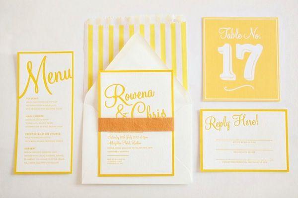 Pretty yellow and white wedding stationery suite by Artcadia (photo by @Dasha Caffrey)