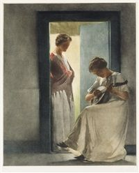 Two Young Girls in a Doorway by Peter Vilhelm Ilsted