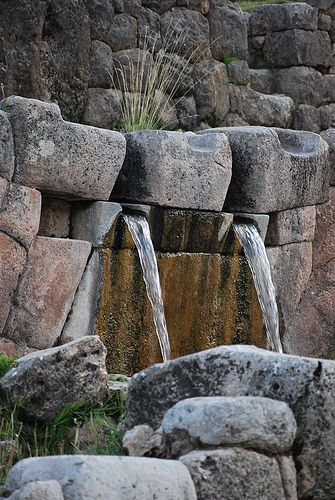 Fountains of Tipon, the water garden of Viracocha. Viracocha was one of the most important deities in the Inca pantheon and seen as the creator of all things, or the substance from which all things are created, and intimately associated with the sea. (V)