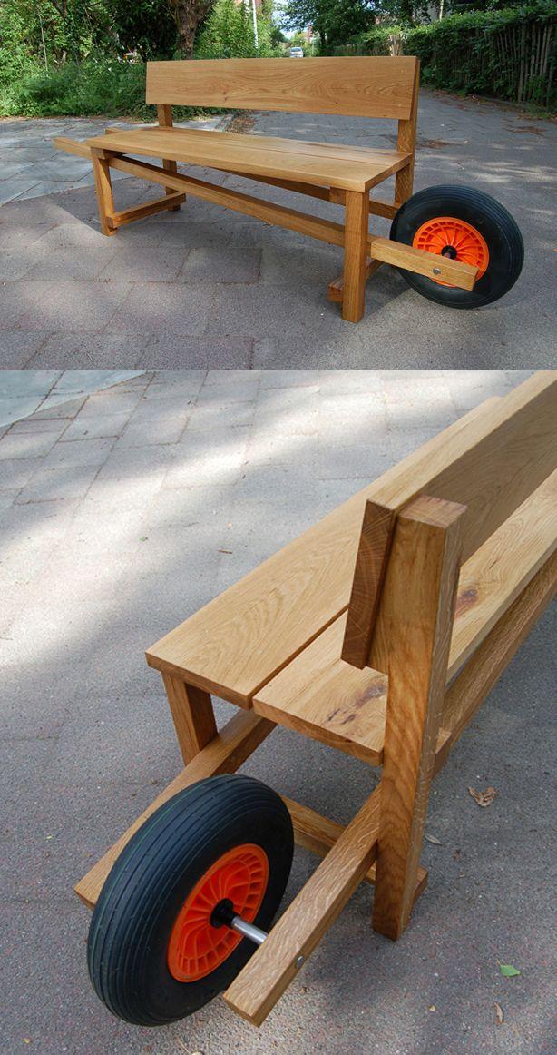 Bench and wheelbarrow