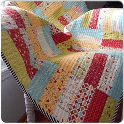 Jelly Roll Quilt - straight line quilting