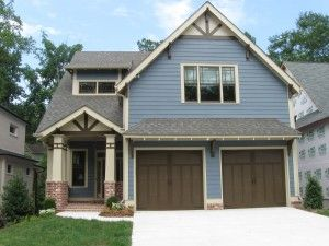 colors to go with brown windows bungalow exterior blue is sherwin williams 6250 granite peak wood trim is sherwin williams 6149 relaxed khaki