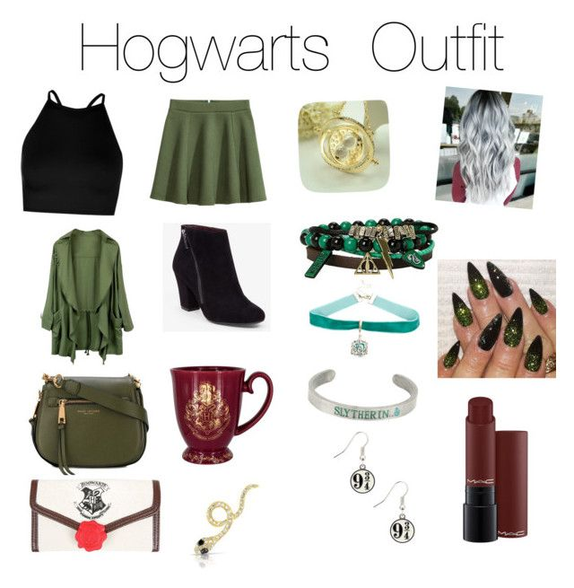 """Hogwarts Outfit"" by katelynstorey on Polyvore featuring Boohoo, H&M, BCBGeneration, Marc Jacobs, Warner Bros., Anne Sisteron and MAC Cosmetics"