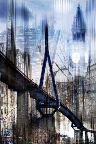 Poster Hamburg Abstrakt Collage Skyline