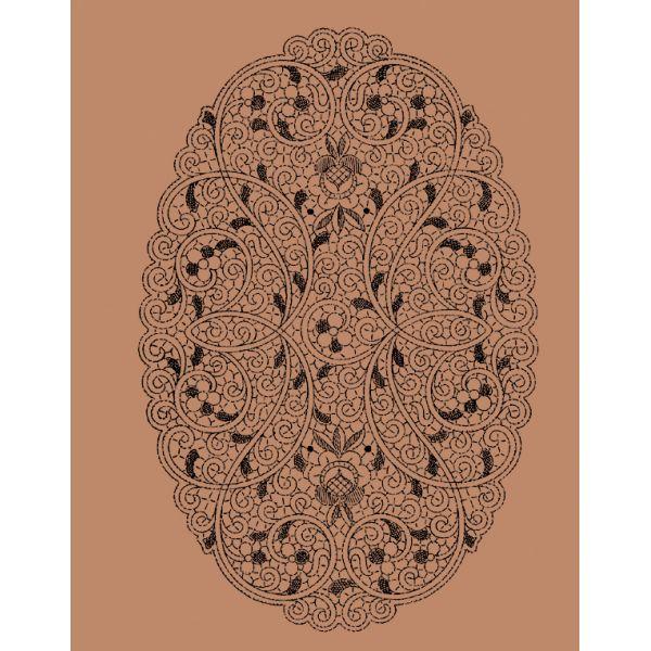 Disegno ovale Venezia n. 085 - Il Giardino dei Punti, Circolo di ricami, pizzi e decori