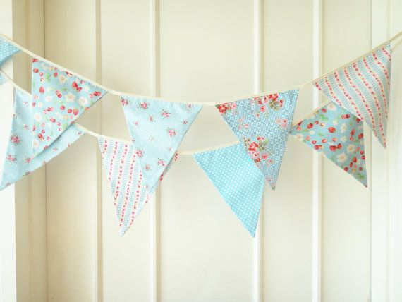 Sweet Blue Bunting, Wedding Fabric Banner, Bunting Flags, Floral, Strawberry, Roses, Stripes, Polka Dots - 3 yards. $27.00, via Etsy.