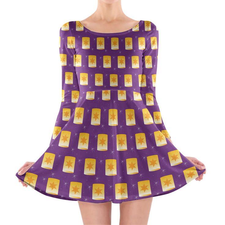 Tangled Floating Lanterns Longsleeve Skater Dress Xs-3Xl All-Over-Print